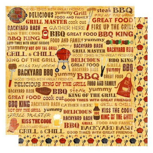 Best Creation Inc - Barbeque Collection - 12 x 12 Double Sided Glitter Paper - Barbeque Words