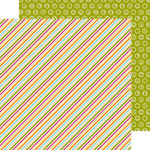 Doodlebug Design - Happy Camper Collection - 12 x 12 Double Sided Paper - Summertime Stripe