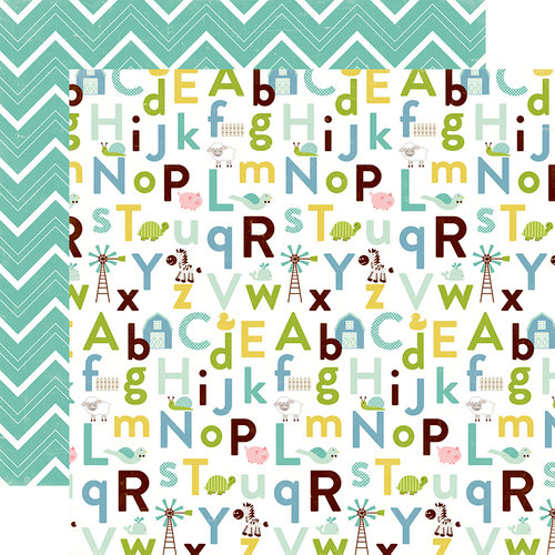 Echo Park - Bundle of Joy New Addition Collection - Boy - 12 x 12 Double Sided Paper - Baby Boy Alphabet