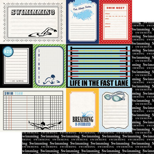 Scrapbook Customs - Sports Pride Collection - 12 x 12 Double Sided Paper - Swimming - Journal