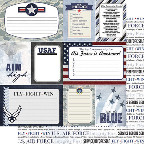 Scrapbook Customs - United States Military Collection - 12 x 12 Double Sided Paper - Air Force