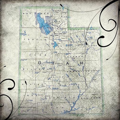 Scrapbook Customs - United States Collection - Utah - 12 x 12 Paper - Travel