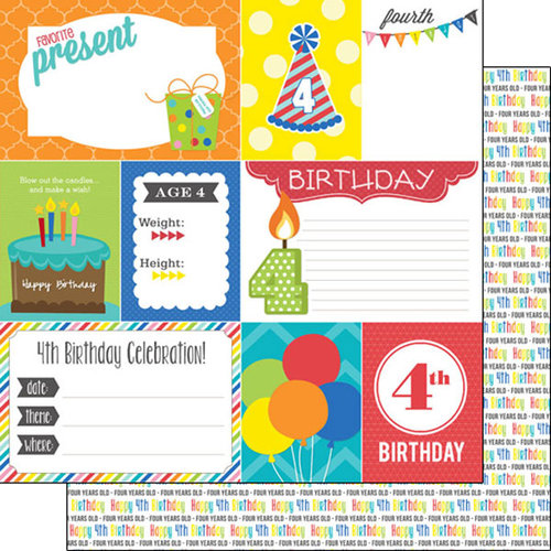 Scrapbook Customs - Happy Birthday Collection - 12 x 12 Double Sided Paper - 4th Birthday