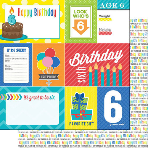 Scrapbook Customs - Happy Birthday Collection - 12 x 12 Double Sided Paper - 6th Birthday