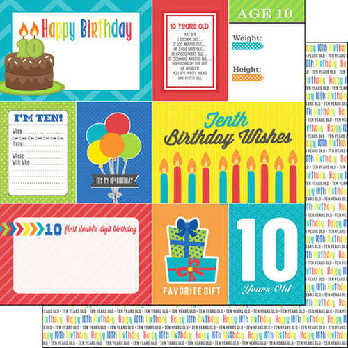 Scrapbook Customs - Happy Birthday Collection - 12 x 12 Double Sided Paper - 10th Birthday