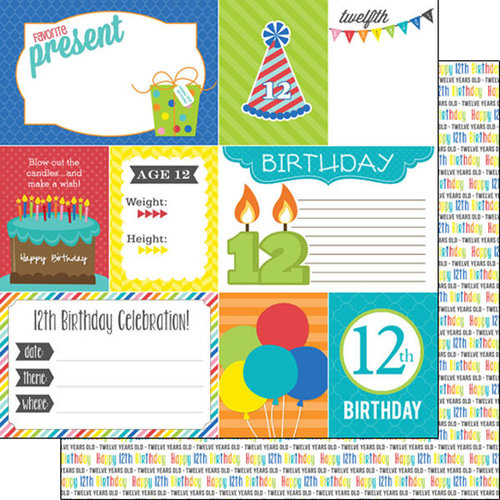 Scrapbook Customs - Happy Birthday Collection - 12 x 12 Double Sided Paper - 12th Birthday