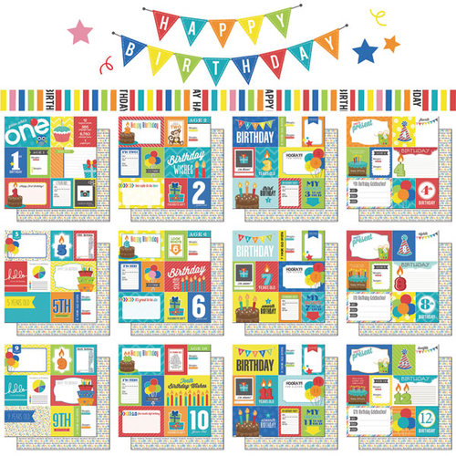 Scrapbook Customs - Happy Birthday Collection - 1st to 12th Birthday - 12 x 12 Paper Pack