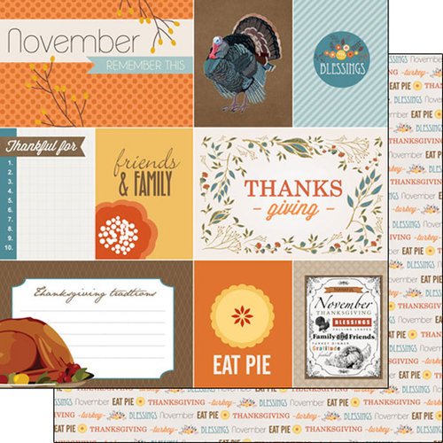Scrapbook Customs - 12 x 12 Double Sided Paper - Thanksgiving Journal