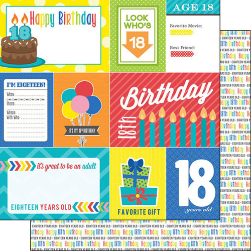 Scrapbook Customs - Happy Birthday Collection - 12 x 12 Double Sided Paper - 18th Birthday