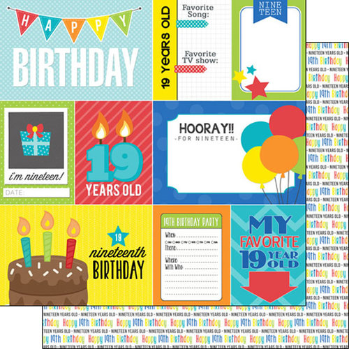 Scrapbook Customs - Happy Birthday Collection - 12 x 12 Double Sided Paper - 19th Birthday