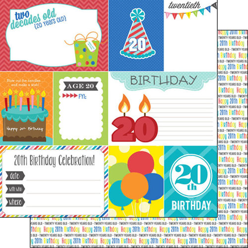 Scrapbook Customs - Happy Birthday Collection - 12 x 12 Double Sided Paper - 20th Birthday