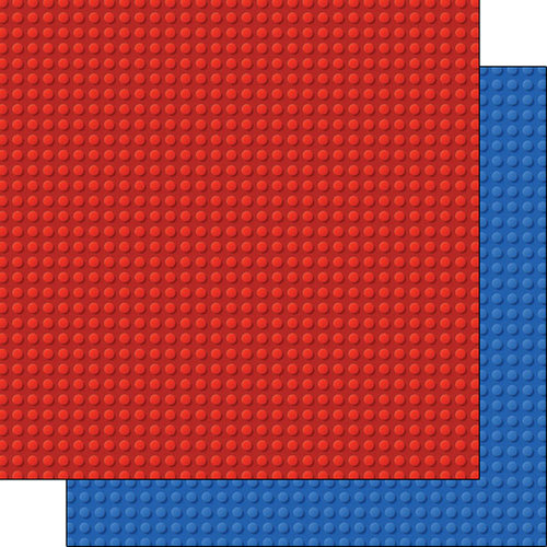 Scrapbook Customs - Building Blocks Collection - 12 x 12 Double Sided Paper - Red and Blue