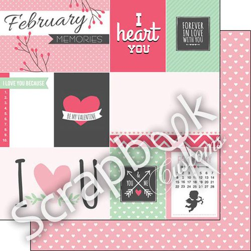 Scrapbook Customs - 12 x 12 Double Sided Paper - February Valentines Journal