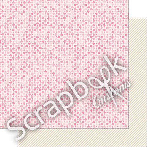 Scrapbook Customs - 12 x 12 Double Sided Paper - Pink Hearts