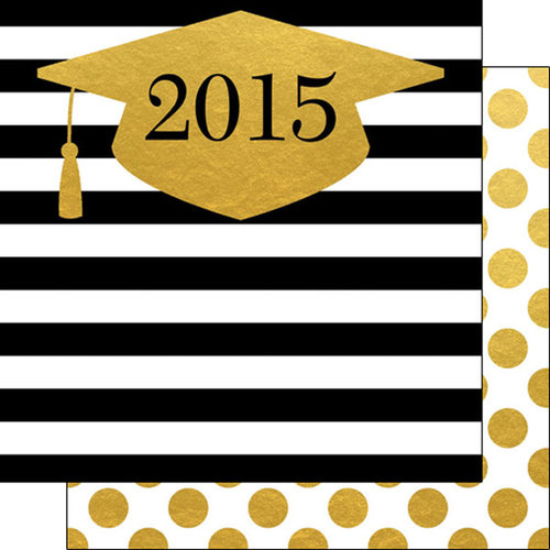 Scrapbook Customs - 12 x 12 Double Sided Paper - 2015 Grad Hat