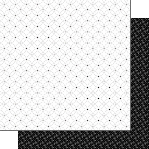 Scrapbook Customs - Black and White Shapes Collection - 12 x 12 Double Sided Paper - Flower 1
