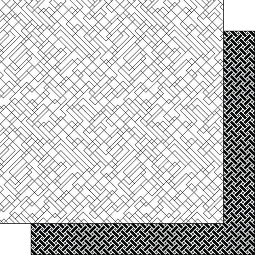 Scrapbook Customs - Black and White Shapes Collection - 12 x 12 Double Sided Paper - Lines