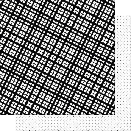 Scrapbook Customs - Black and White Shapes Collection - 12 x 12 Double Sided Paper - Plaid