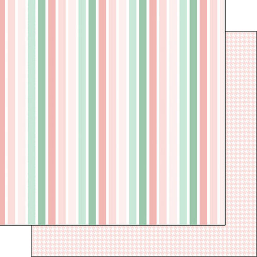 Scrapbook Customs - Baby Girl Collection - 12 x 12 Double Sided Paper - Stripe