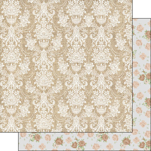 Scrapbook Customs - Burlap and Lace Collection - 12 x 12 Double Sided Paper - Damask