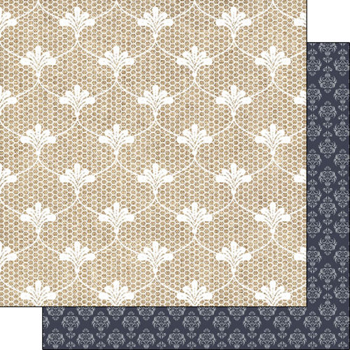 Scrapbook Customs - Burlap and Lace Collection - 12 x 12 Double Sided Paper - Pattern