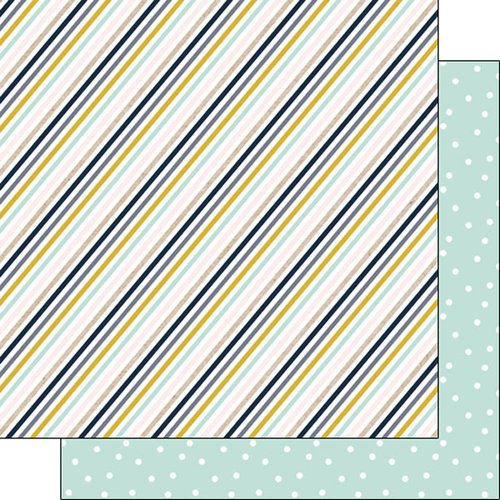 Scrapbook Customs - Navy Mustard Collection - 12 x 12 Double Sided Paper - Stripe
