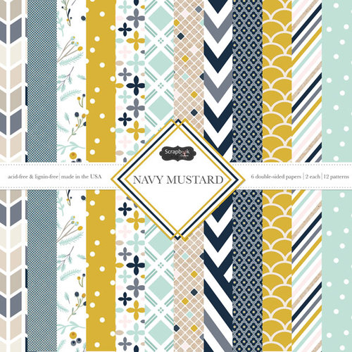 Scrapbook Customs - Navy Mustard Collection - 12 x 12 Paper Pack