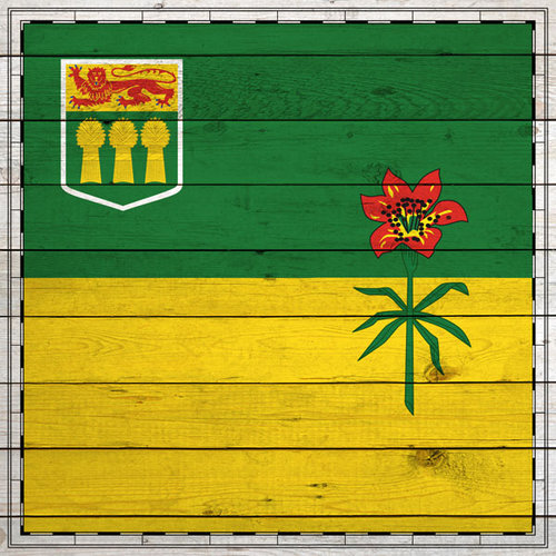 Scrapbook Customs - Canadian Provinces Sightseeing Collection - 12 x 12 Paper - Wood Flag - Saskatchewan