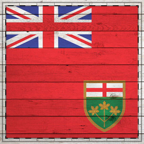 Scrapbook Customs - Canadian Provinces Sightseeing Collection - 12 x 12 Paper - Wood Flag - Ontario