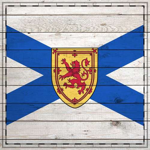 Scrapbook Customs - Canadian Provinces Sightseeing Collection - 12 x 12 Paper - Wood Flag - Nova Scotia