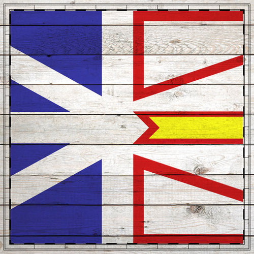 Scrapbook Customs - Canadian Provinces Sightseeing Collection - 12 x 12 Paper - Wood Flag - Newfoundland