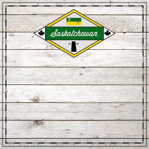 Scrapbook Customs - Canadian Provinces Sightseeing Collection - 12 x 12 Paper - Wood - Saskatchewan