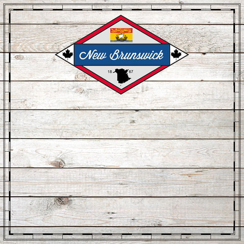 Scrapbook Customs - Canadian Provinces Sightseeing Collection - 12 x 12 Paper - Wood - New Brunswick