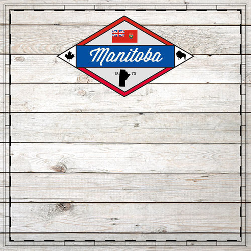 Scrapbook Customs - Canadian Provinces Sightseeing Collection - 12 x 12 Paper - Wood - Manitoba