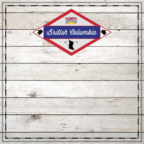 Scrapbook Customs - Canadian Provinces Sightseeing Collection - 12 x 12 Paper - Wood - British Columbia