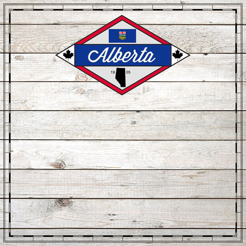 Scrapbook Customs - Canadian Provinces Sightseeing Collection - 12 x 12 Paper - Wood - Alberta