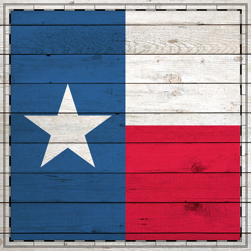 Scrapbook Customs - State Sightseeing Collection - 12 x 12 Paper - Wood Flag - Texas