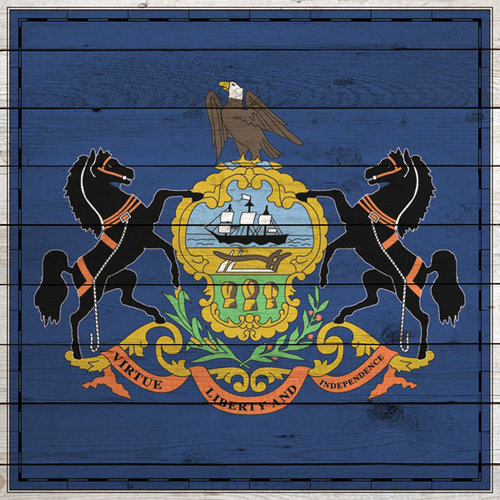 Scrapbook Customs - State Sightseeing Collection - 12 x 12 Paper - Wood Flag - Pennsylvania