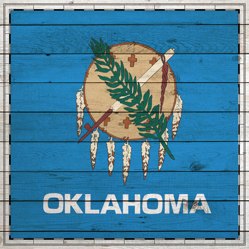 Scrapbook Customs - State Sightseeing Collection - 12 x 12 Paper - Wood Flag - Oklahoma