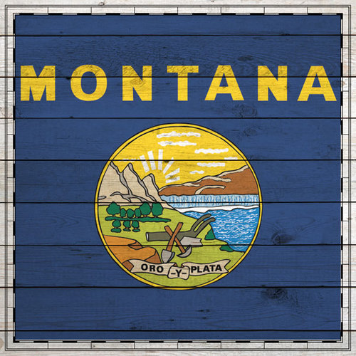 Scrapbook Customs - State Sightseeing Collection - 12 x 12 Paper - Wood Flag - Montana