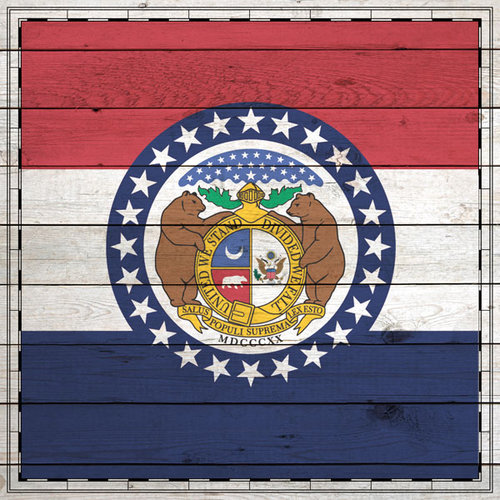 Scrapbook Customs - State Sightseeing Collection - 12 x 12 Paper - Wood Flag - Missouri