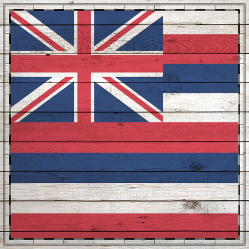 Scrapbook Customs - State Sightseeing Collection - 12 x 12 Paper - Wood Flag - Hawaii