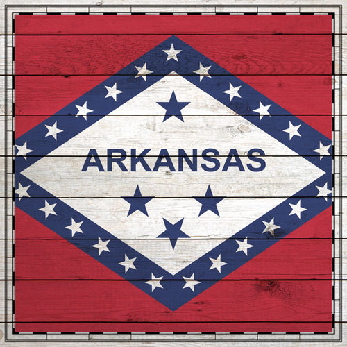 Scrapbook Customs - State Sightseeing Collection - 12 x 12 Paper - Wood Flag - Arkansas