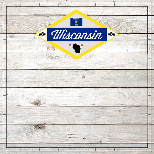Scrapbook Customs - State Sightseeing Collection - 12 x 12 Paper - Wood - Wisconsin