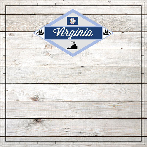 Scrapbook Customs - State Sightseeing Collection - 12 x 12 Paper - Wood - Virginia