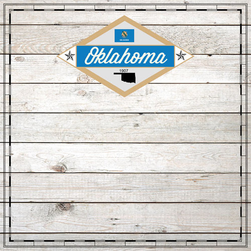 Scrapbook Customs - State Sightseeing Collection - 12 x 12 Paper - Wood - Oklahoma