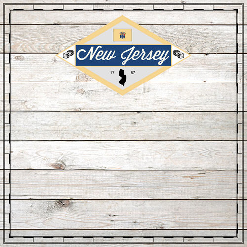 Scrapbook Customs - State Sightseeing Collection - 12 x 12 Paper - Wood - New Jersey