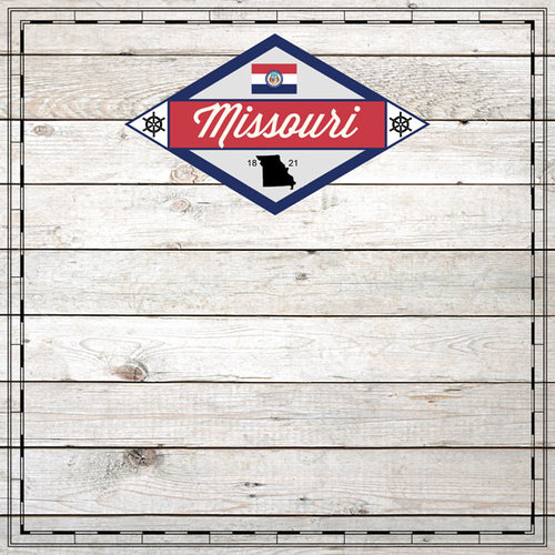 Scrapbook Customs - State Sightseeing Collection - 12 x 12 Paper - Wood - Missouri