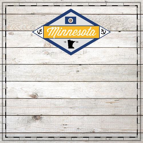 Scrapbook Customs - State Sightseeing Collection - 12 x 12 Paper - Wood - Minnesota