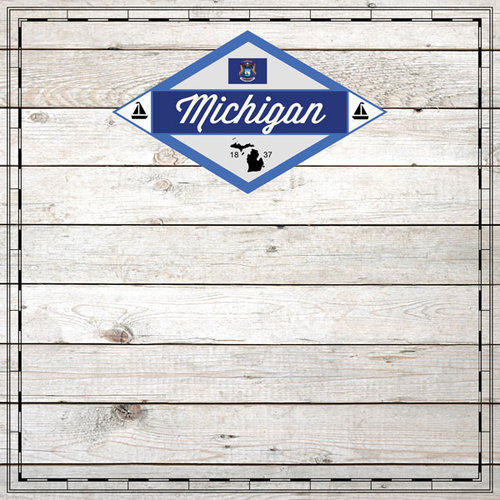 Scrapbook Customs - State Sightseeing Collection - 12 x 12 Paper - Wood - Michigan